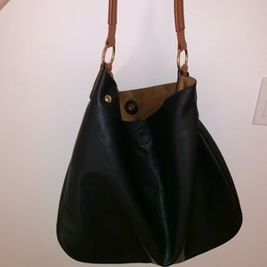 Anthropologie Black Slouch Tote Bag
